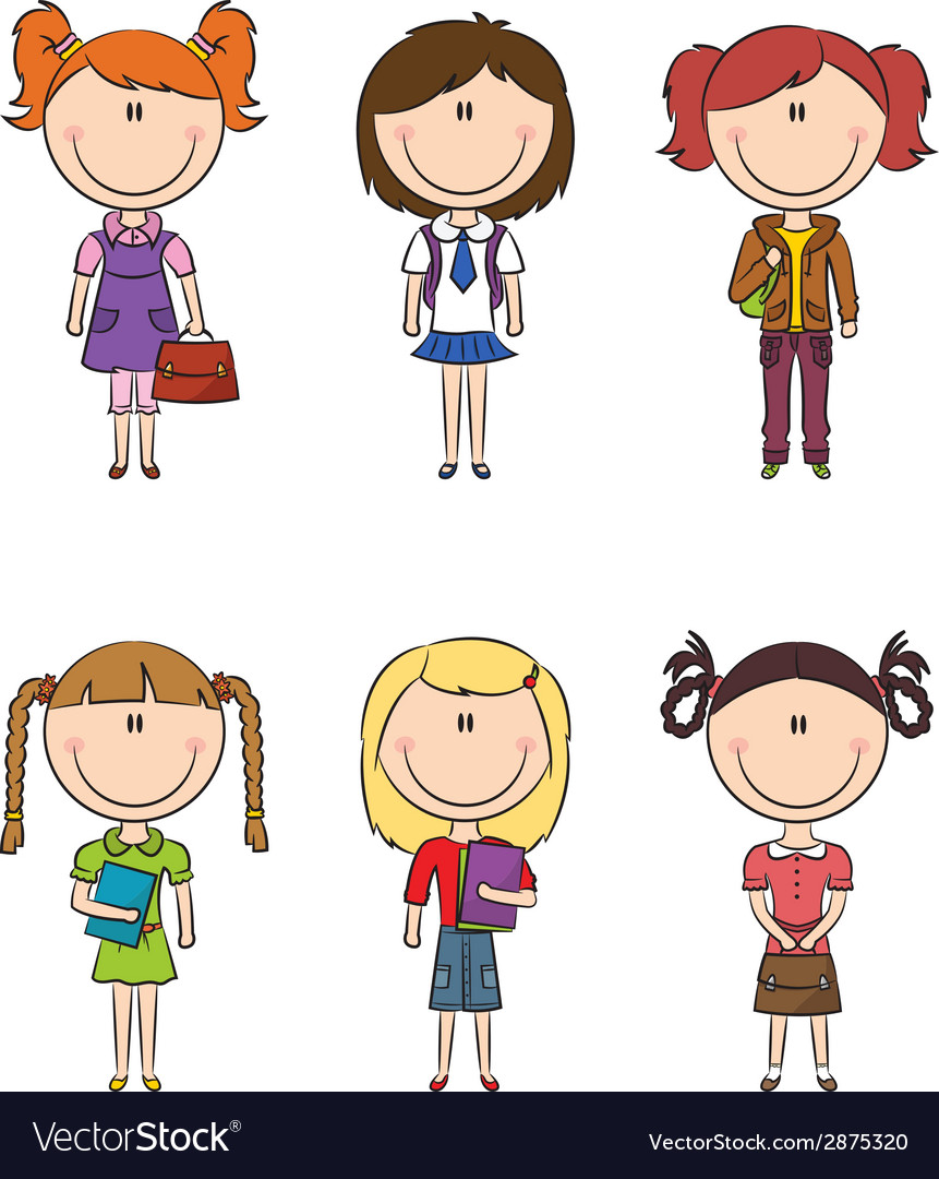School girls with books and bags vector | Price: 1 Credit (USD $1)