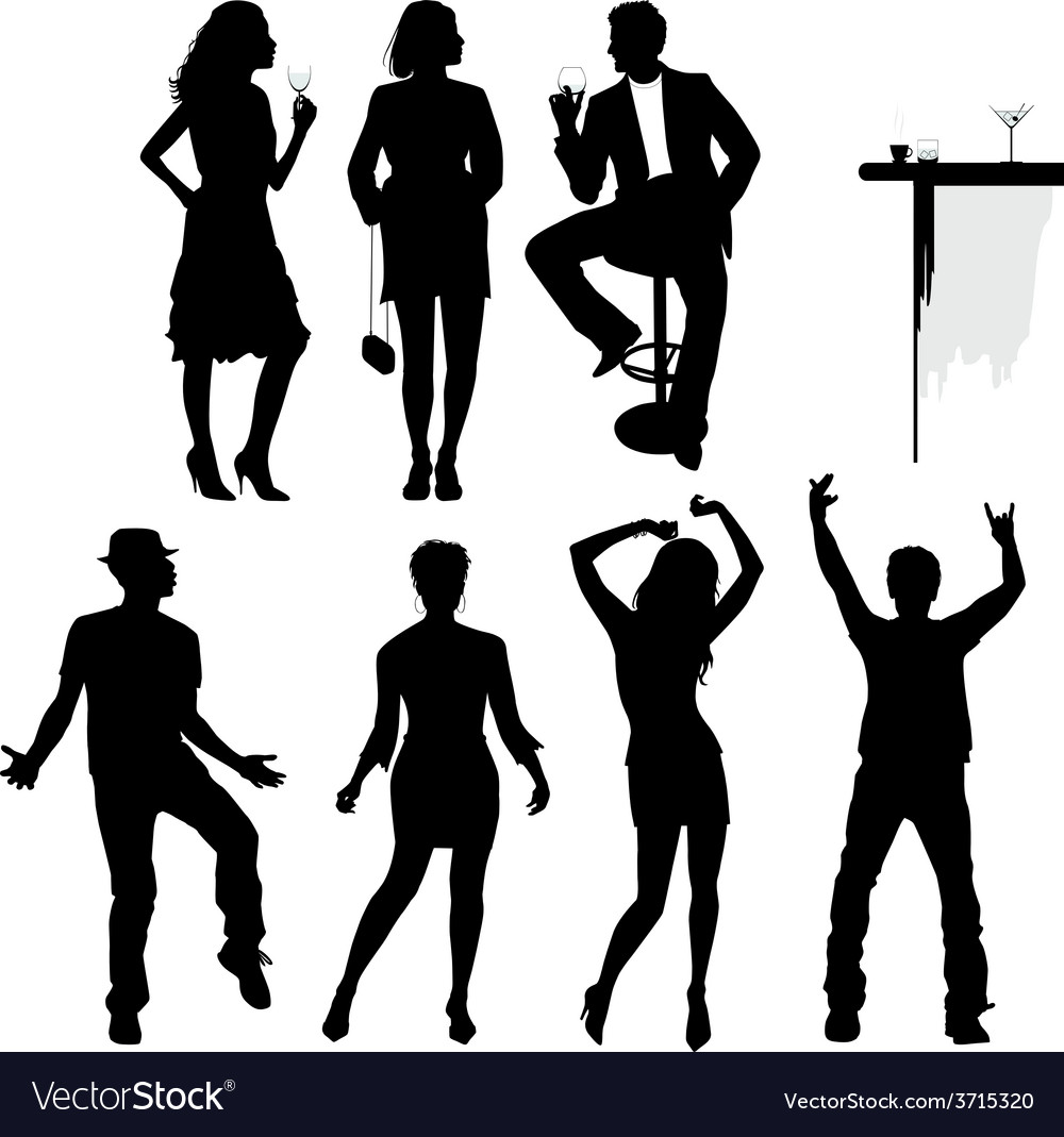 Several people are dancing on the party silhouette vector | Price: 1 Credit (USD $1)