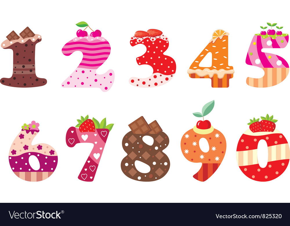 Sweet numbers vector | Price: 1 Credit (USD $1)
