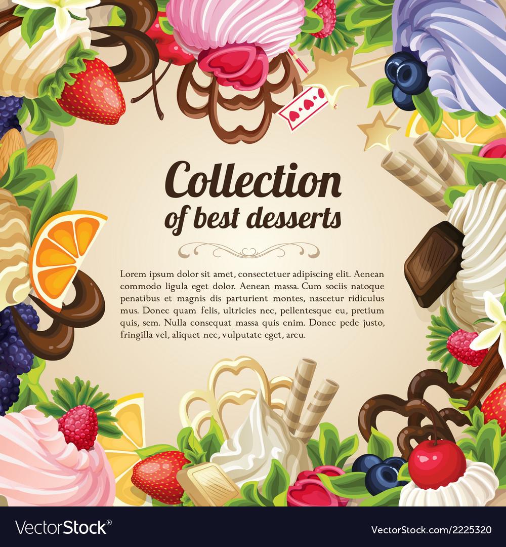 Sweets dessert frame vector | Price: 1 Credit (USD $1)