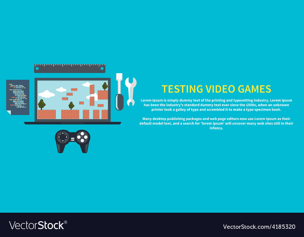 Testing video games vector | Price: 1 Credit (USD $1)