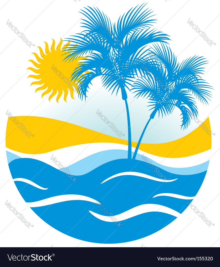Tropical marine landscape vector | Price: 1 Credit (USD $1)