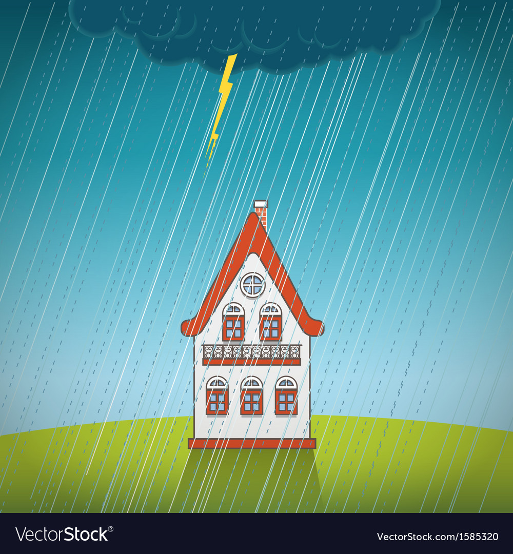 Vintage lonely house on the rain vector | Price: 1 Credit (USD $1)