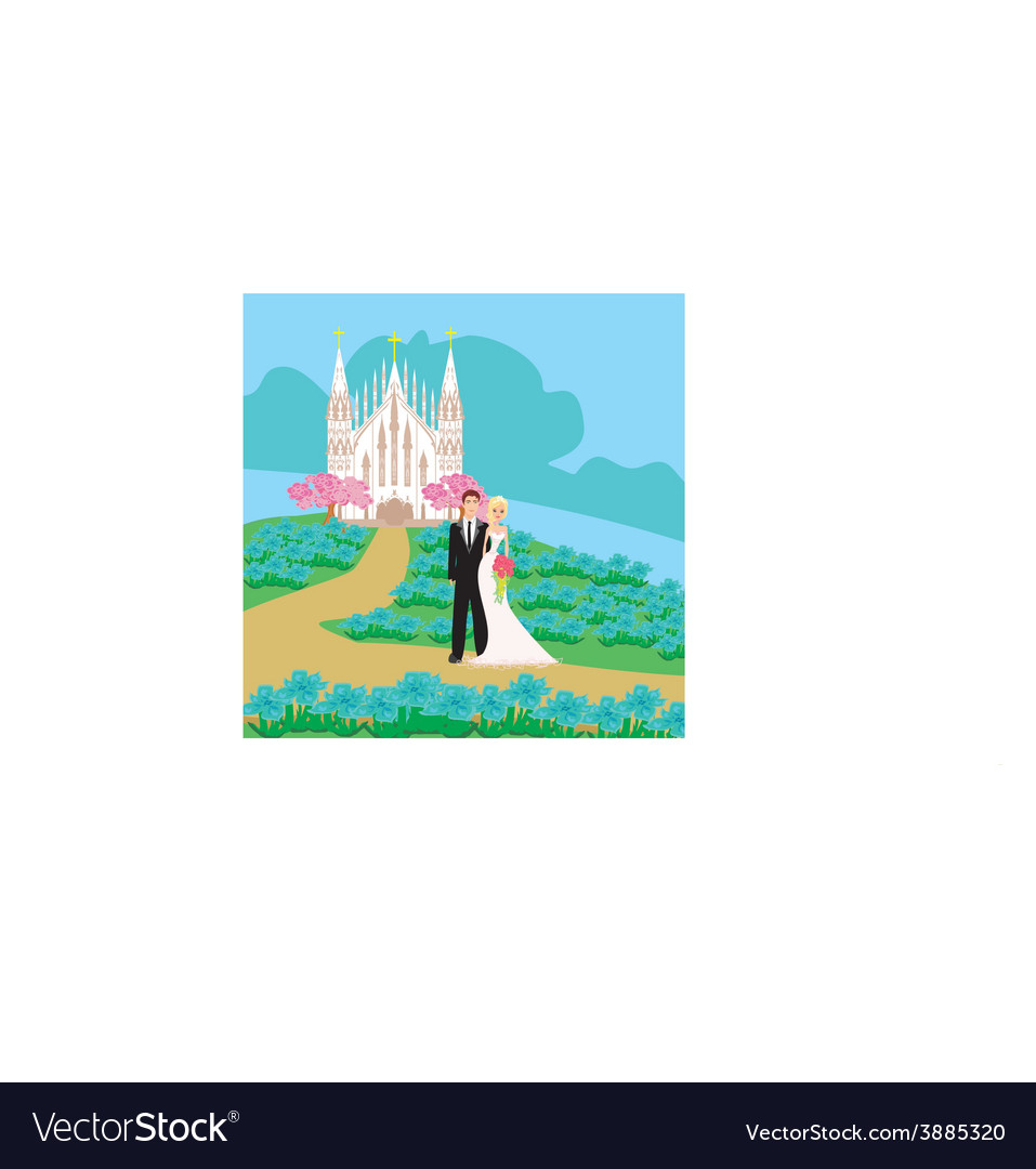 Wedding couple in front of a church vector   Price: 1 Credit (USD $1)