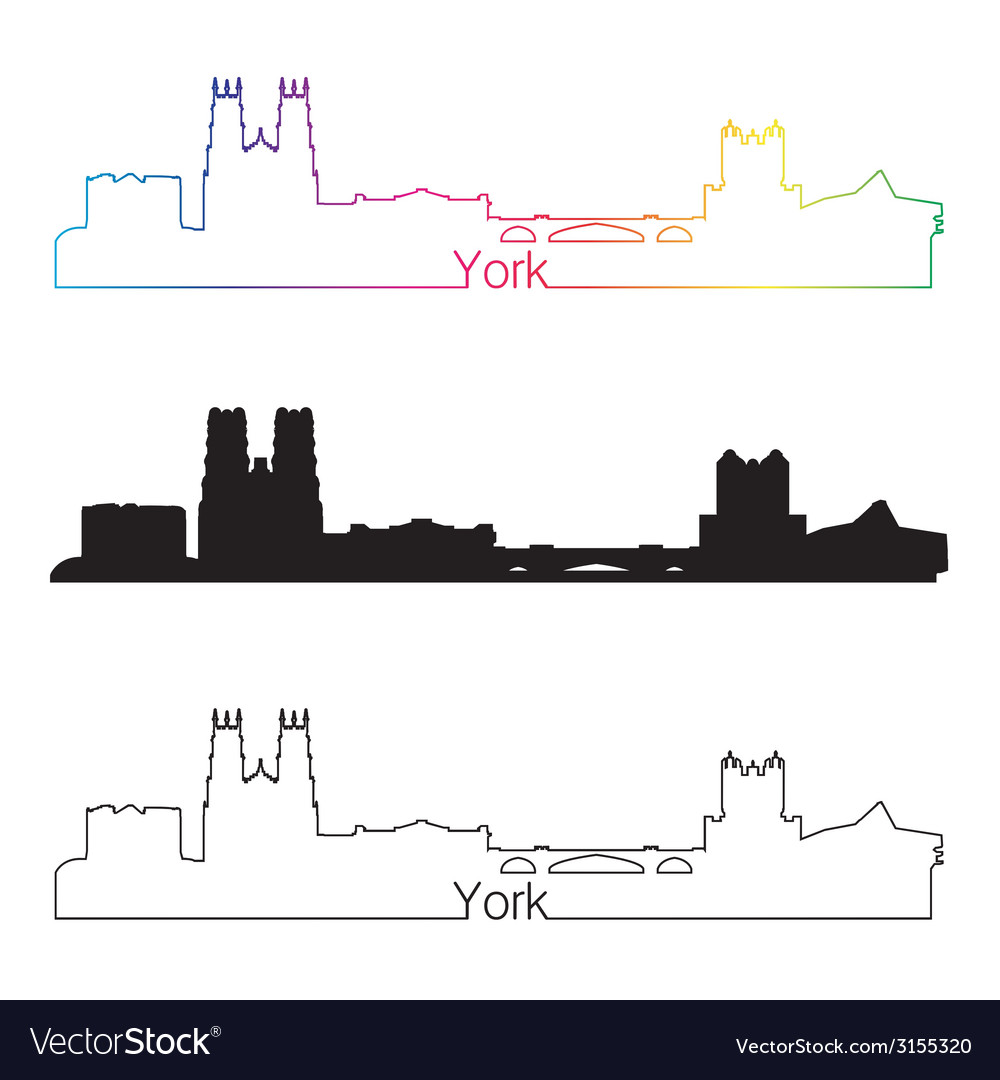 York skyline linear style with rainbow vector | Price: 1 Credit (USD $1)