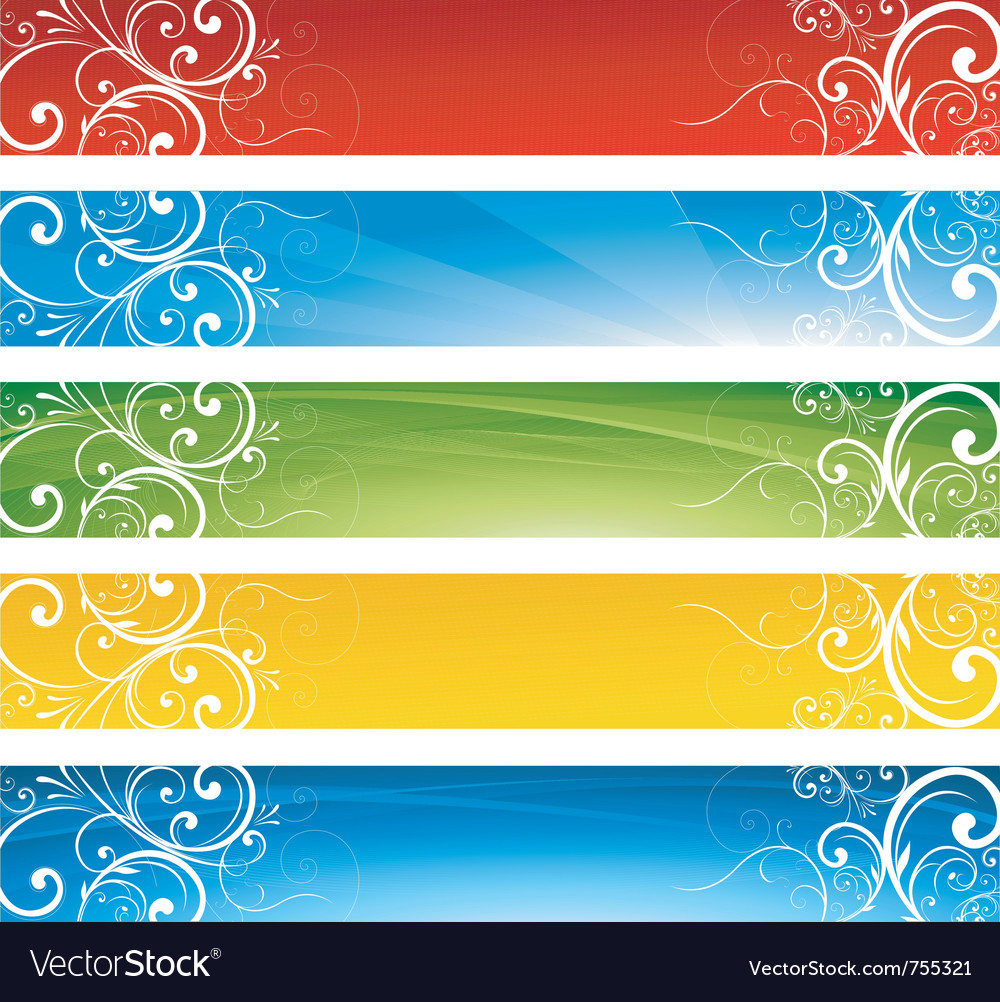 Abstract website floral banners vector | Price: 1 Credit (USD $1)
