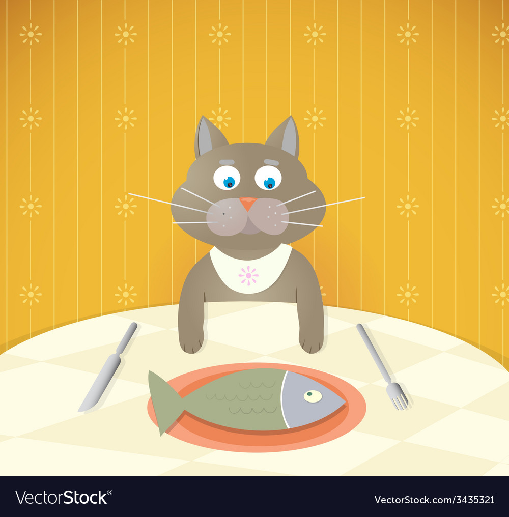 Cartoon cat at restaurant having a lunch vector | Price: 1 Credit (USD $1)
