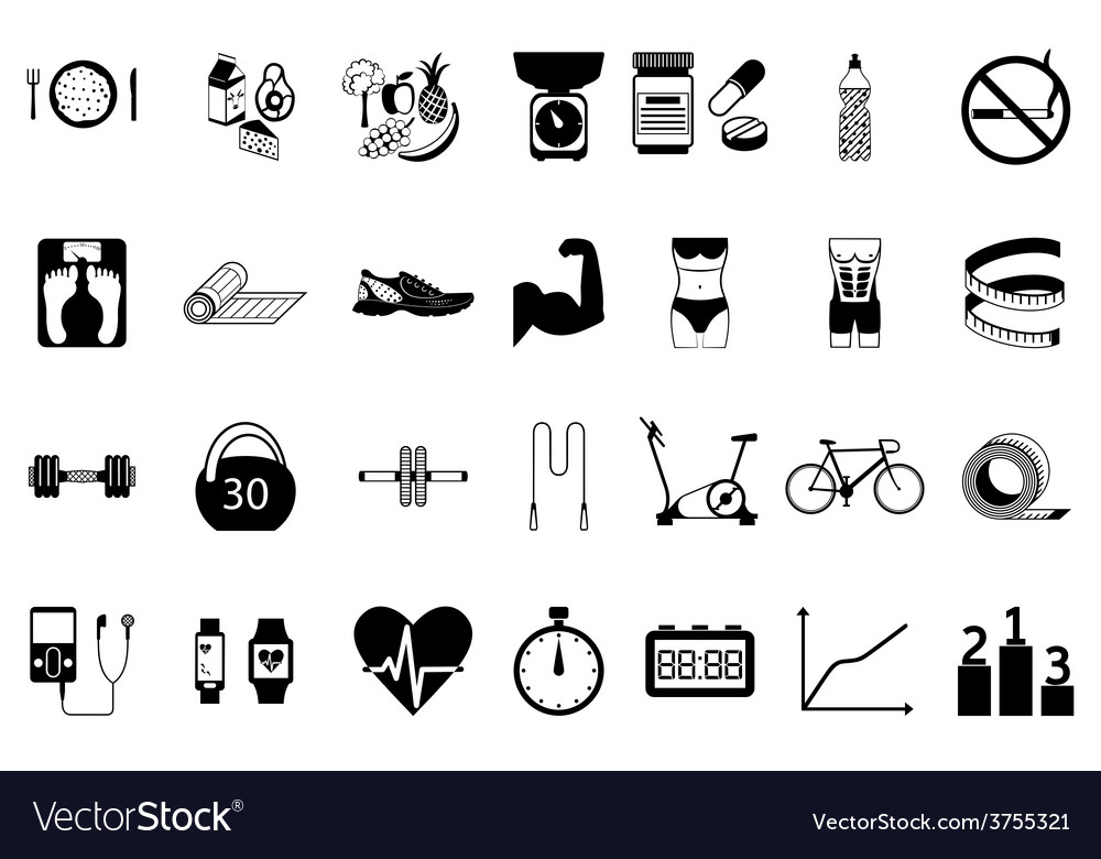 Fitness sport and health silhouette icons set vector | Price: 1 Credit (USD $1)