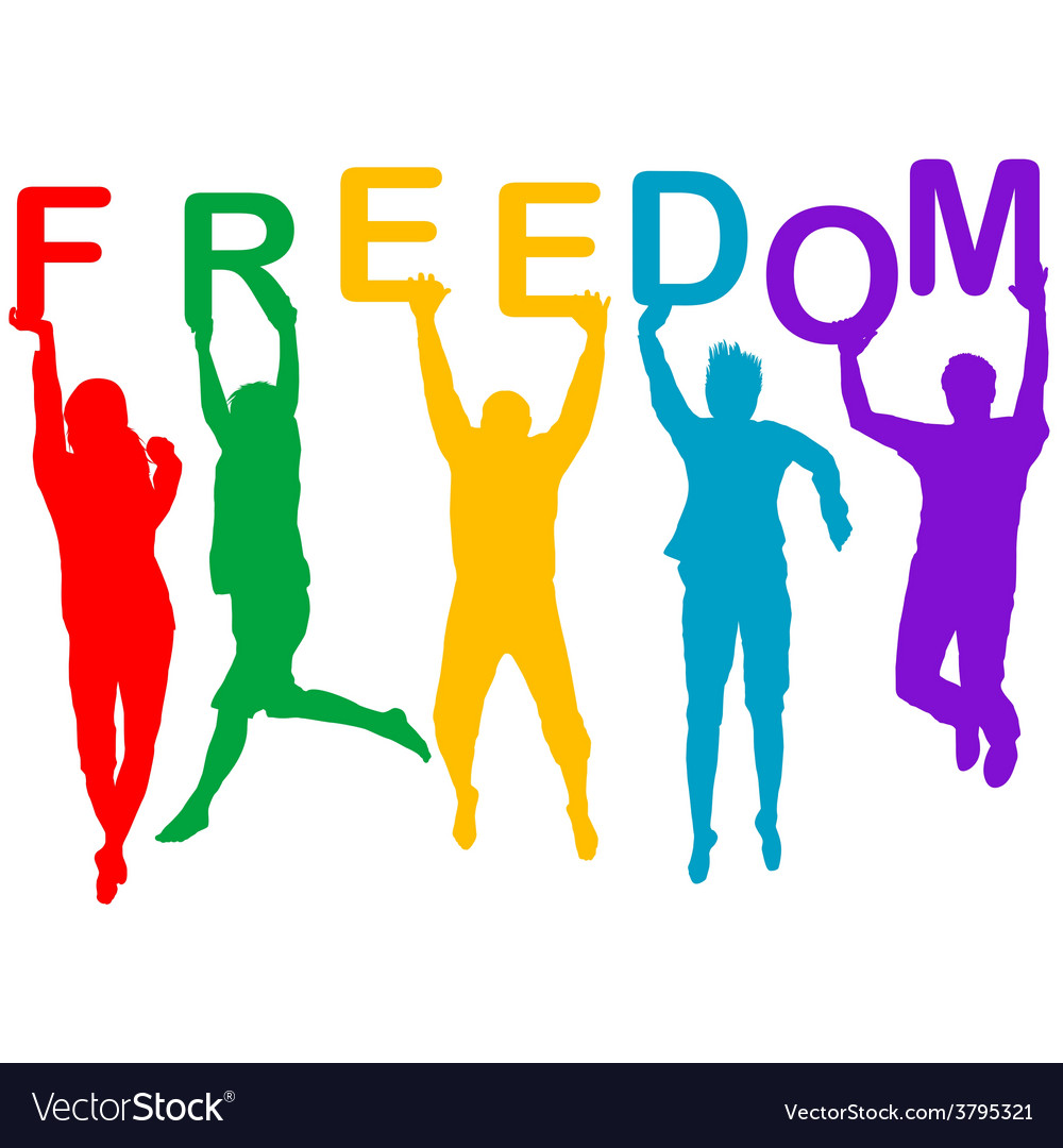 Freedom concept with people jumping silhouettes vector | Price: 1 Credit (USD $1)