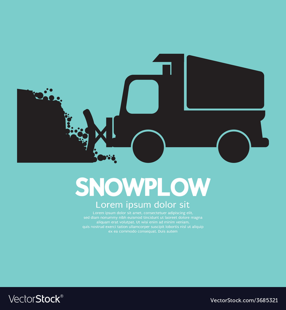 Snowplow removing the snow from road vector