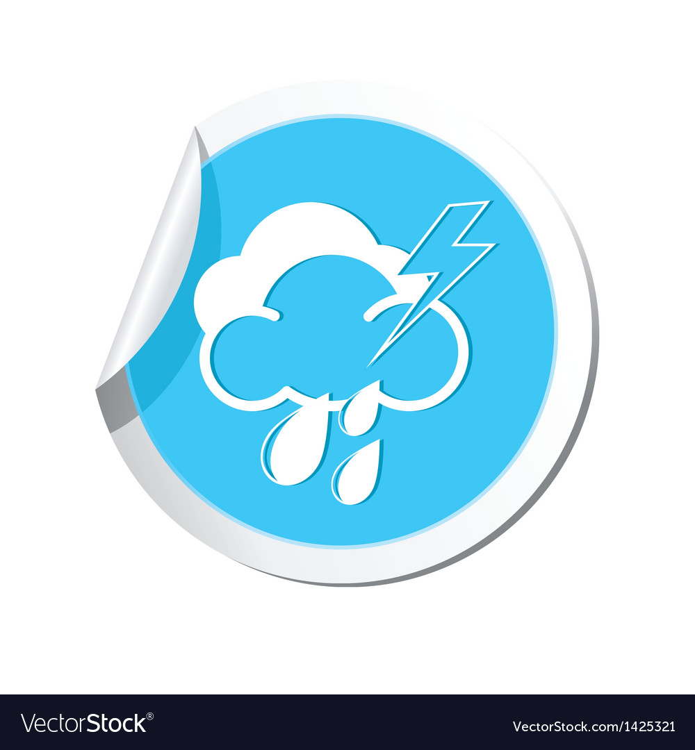 Weather forecast clouds lighting raindrop icon vector | Price: 1 Credit (USD $1)