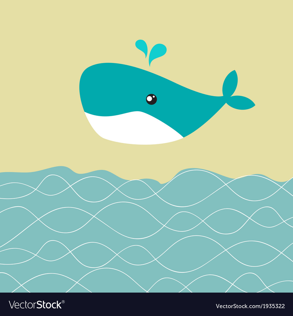 Baby boy shower card with cute whale vector | Price: 1 Credit (USD $1)