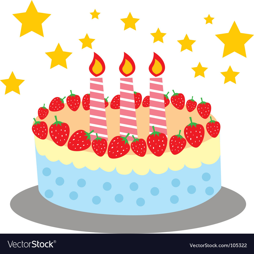 Cute and sweet birthday cake vector | Price: 1 Credit (USD $1)