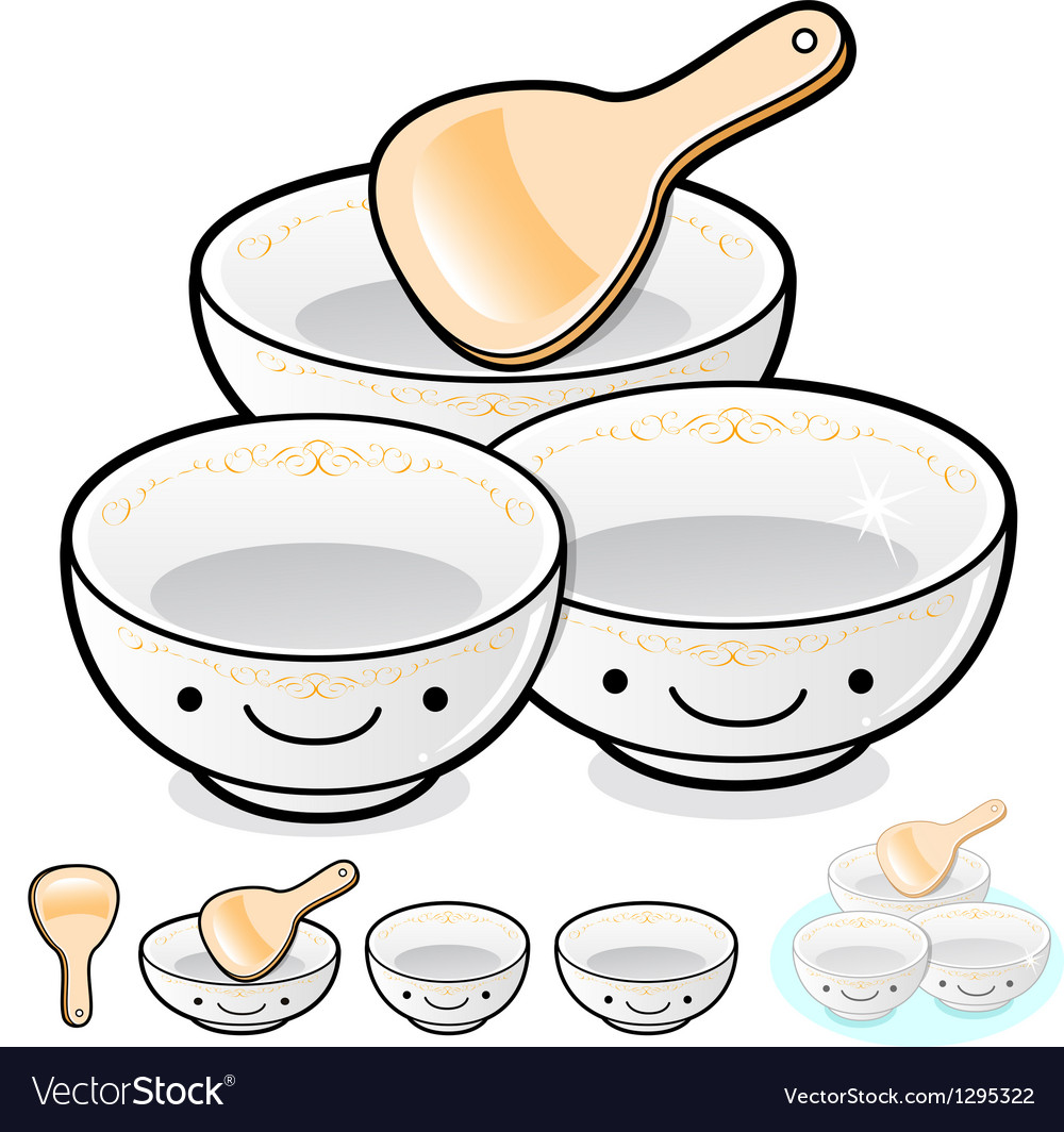 Diverse styles of rice bowl and soup bowl sets vector | Price: 1 Credit (USD $1)
