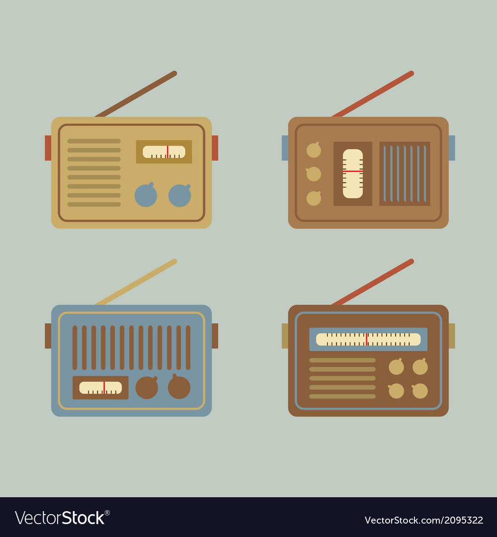 Flat design vintage radio vector | Price: 1 Credit (USD $1)