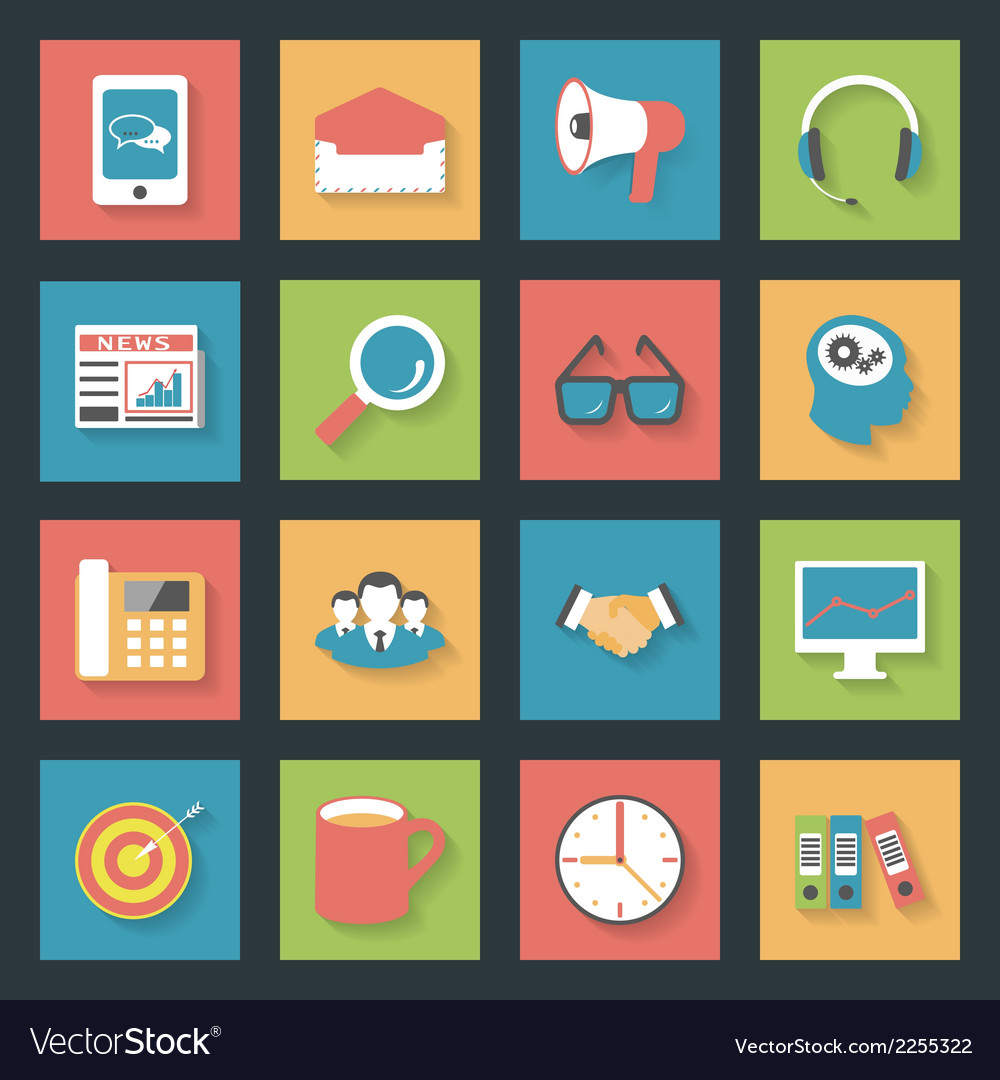 Marketing flat icons set vector | Price: 1 Credit (USD $1)