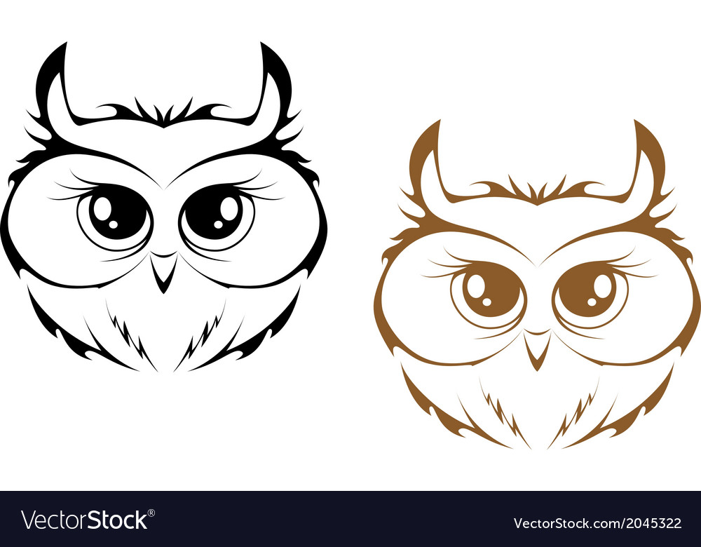 Owl heads vector | Price: 1 Credit (USD $1)