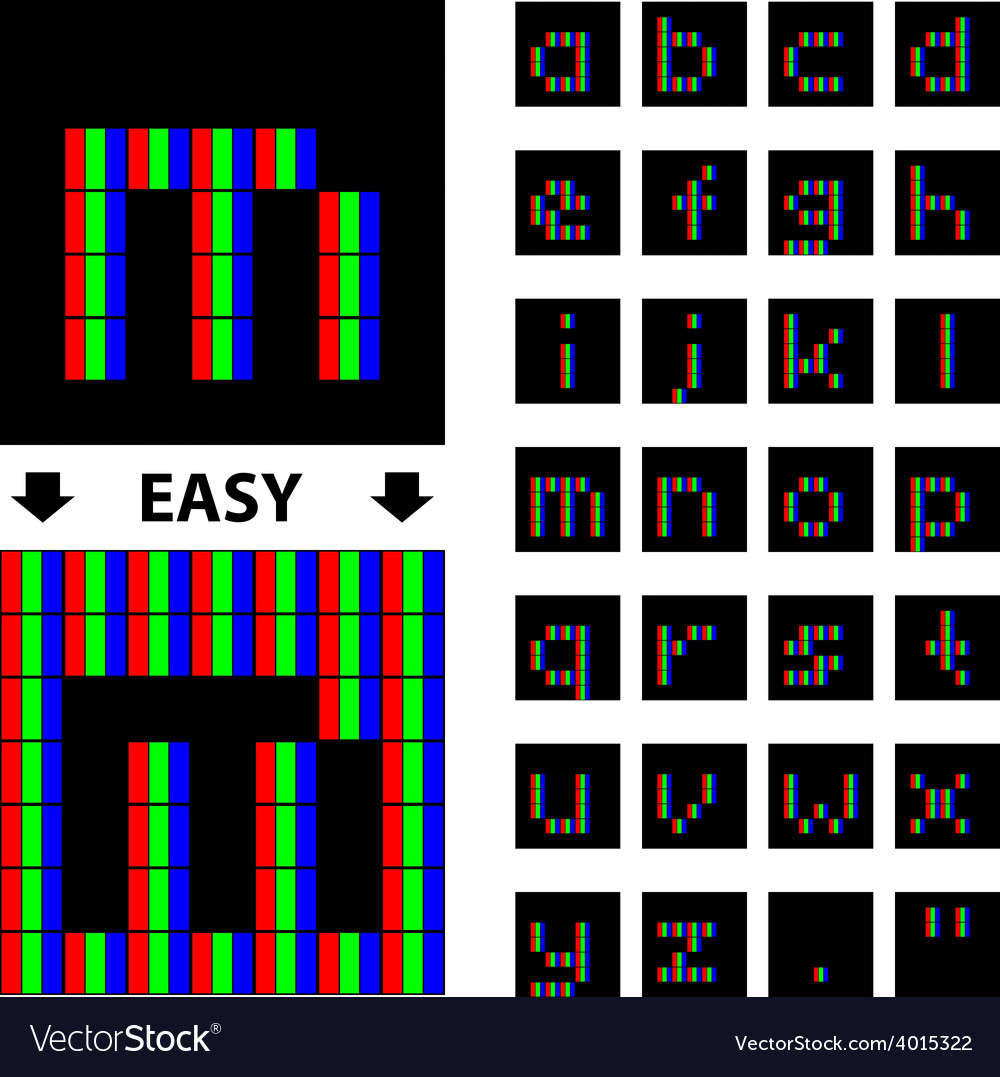 Rgb pixel lower case font alphabet vector | Price: 1 Credit (USD $1)