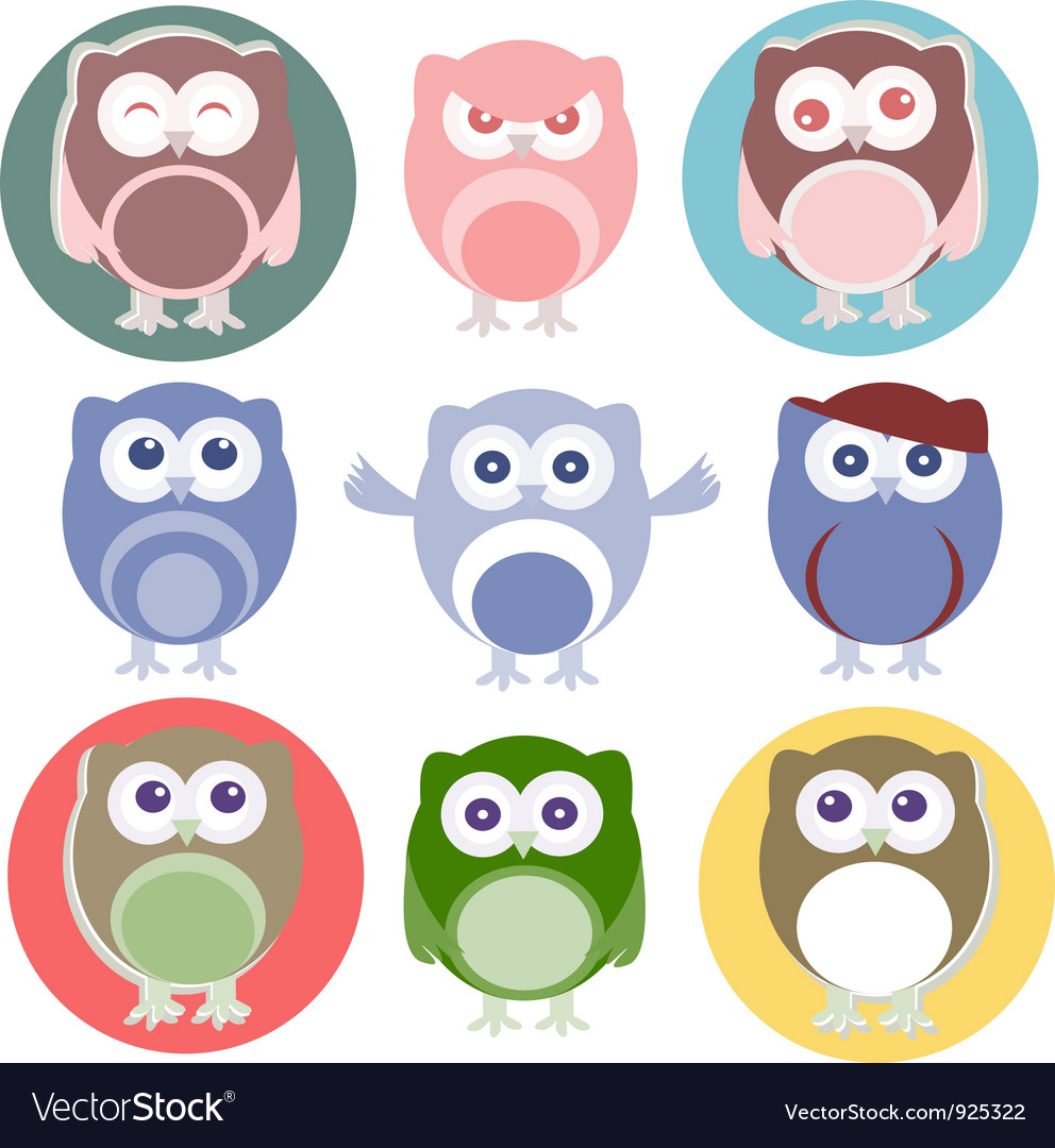 Set of cartoon owls vector | Price: 1 Credit (USD $1)