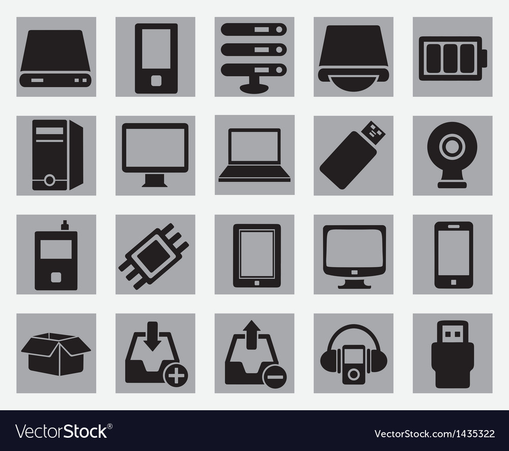 Set of computer hardware icons vector | Price: 3 Credit (USD $3)