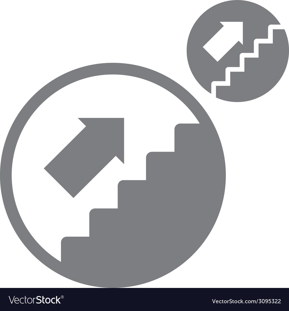 Stairs up simple single color icon isolated on vector | Price: 1 Credit (USD $1)