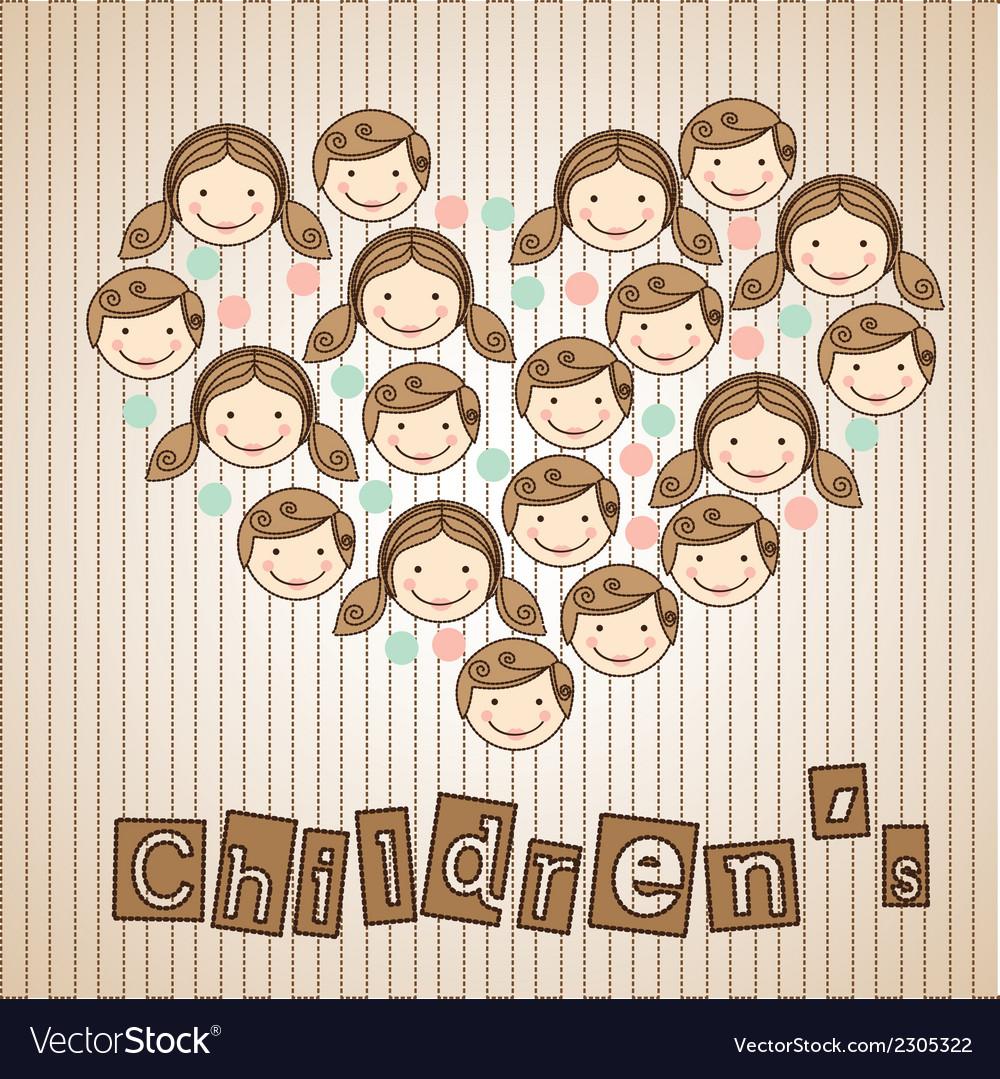 Sticker childrens heads in heart vector | Price: 1 Credit (USD $1)