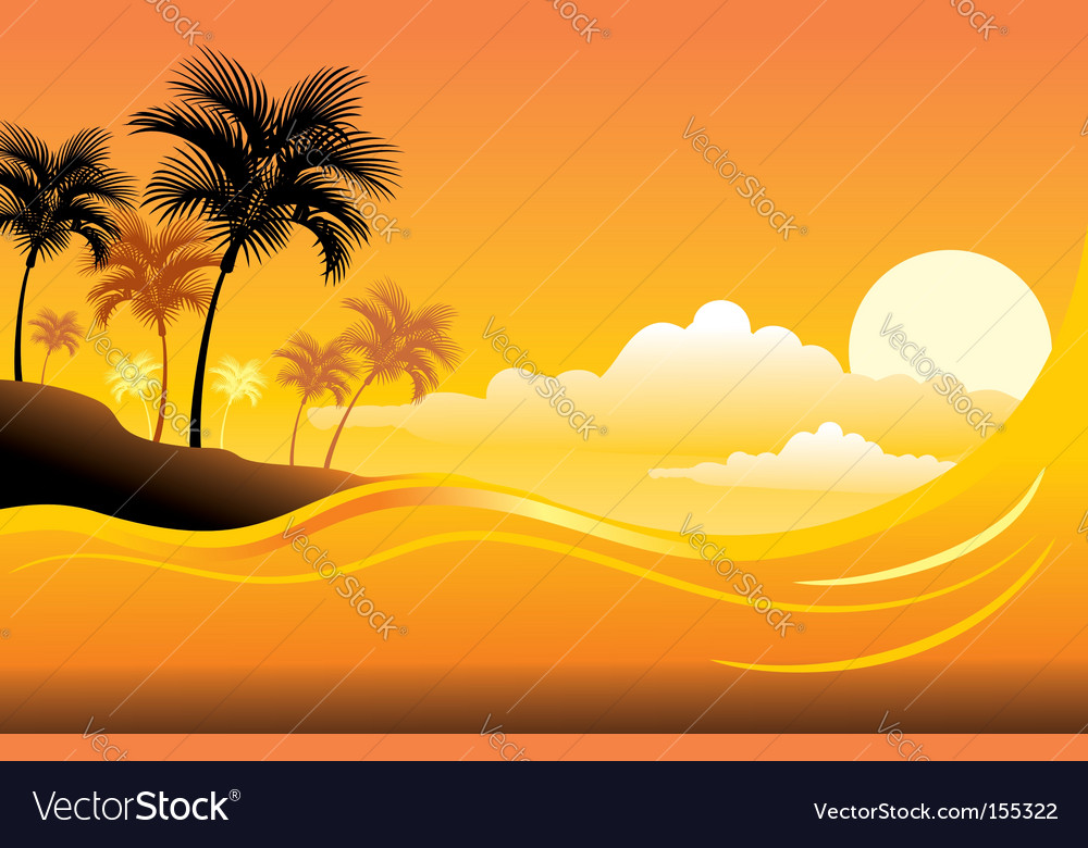 Tropical sunset seascape vector | Price: 1 Credit (USD $1)