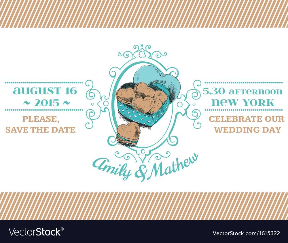 Wedding vintage invitation - macaroon heart theme vector | Price: 1 Credit (USD $1)