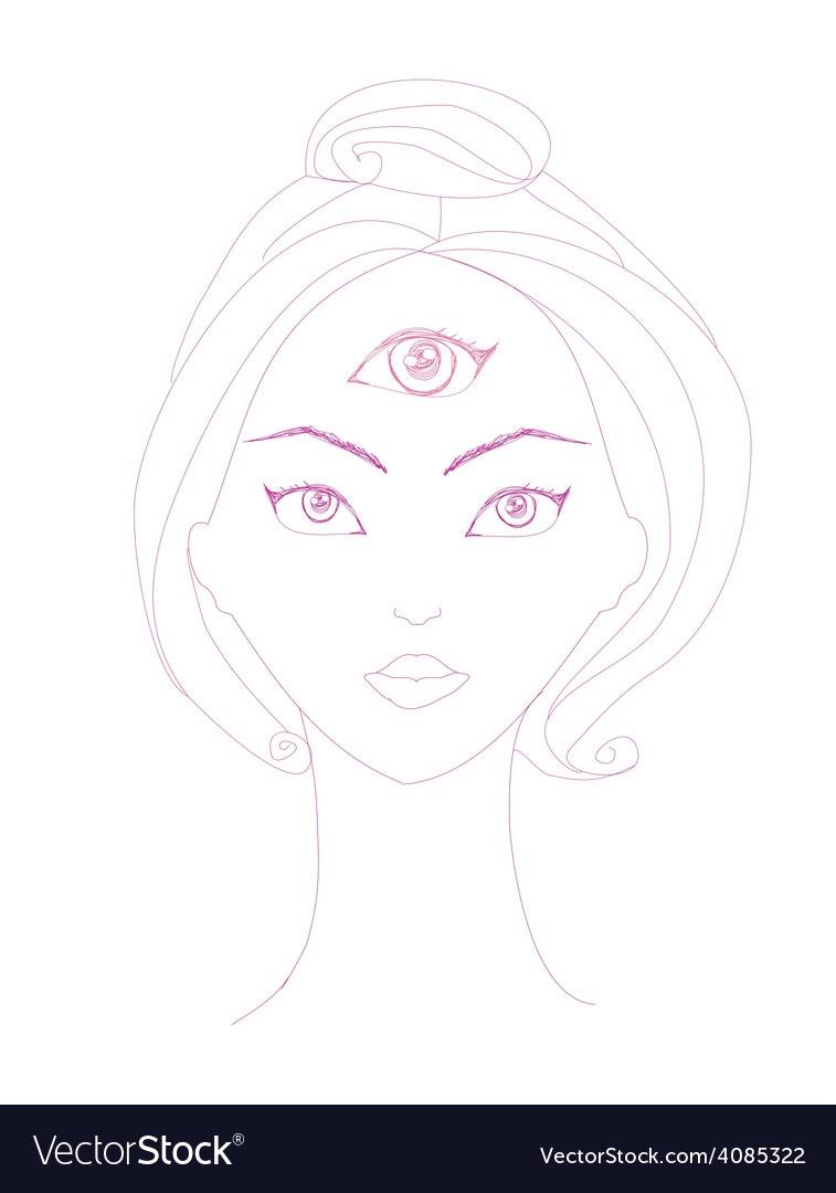 Woman with third eye psychic supernatural senses vector | Price: 1 Credit (USD $1)