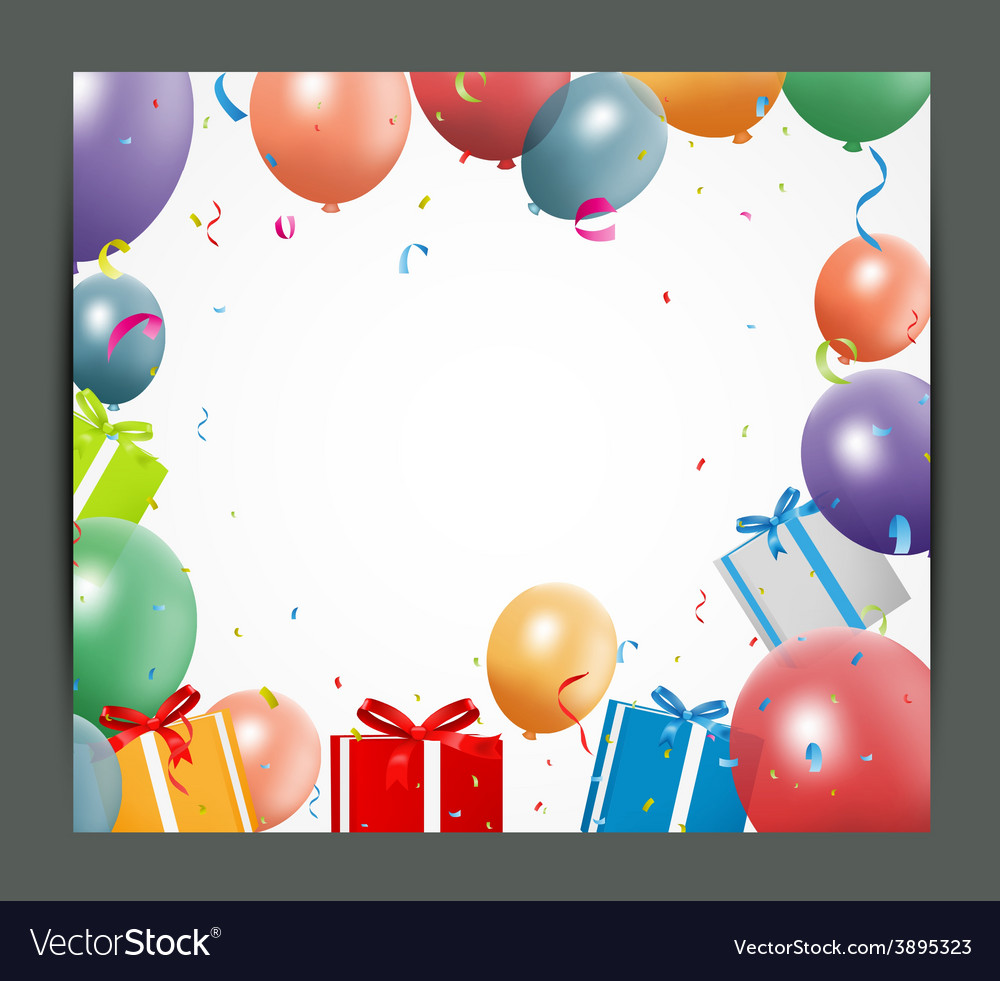 Birthday background with balloons and gift box vector | Price: 1 Credit (USD $1)