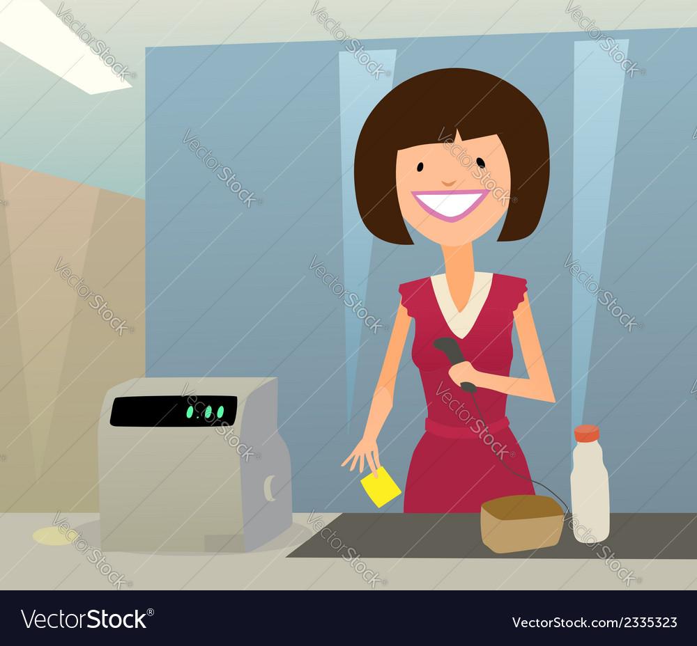Cashier woman vector | Price: 1 Credit (USD $1)