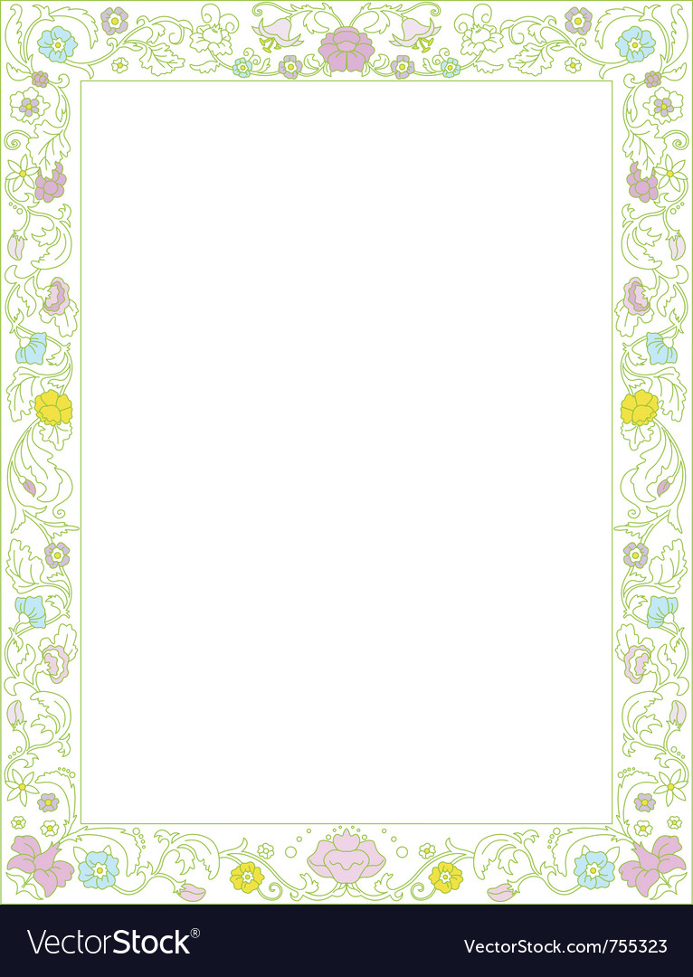 Green spring frame with flowers vector | Price: 1 Credit (USD $1)