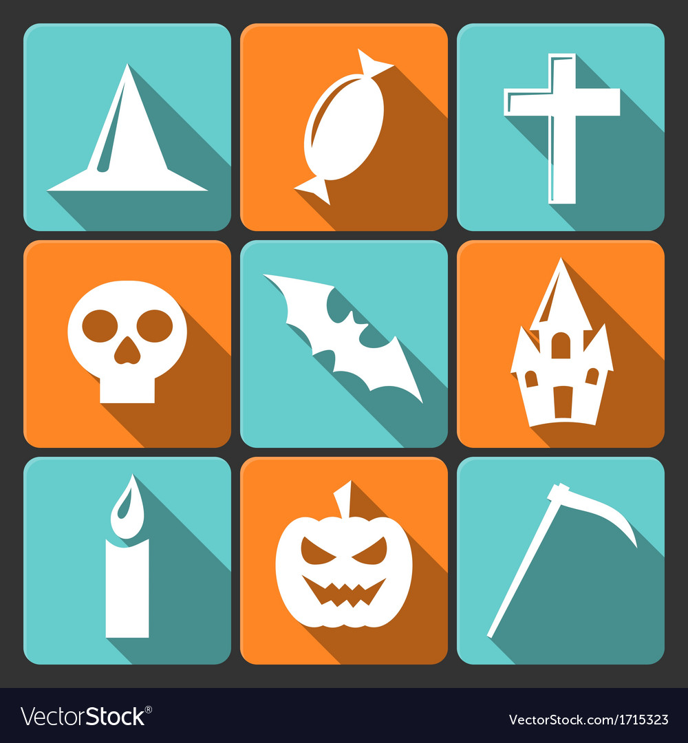 Halloween flat icons with long shadow set 3 vector | Price: 1 Credit (USD $1)
