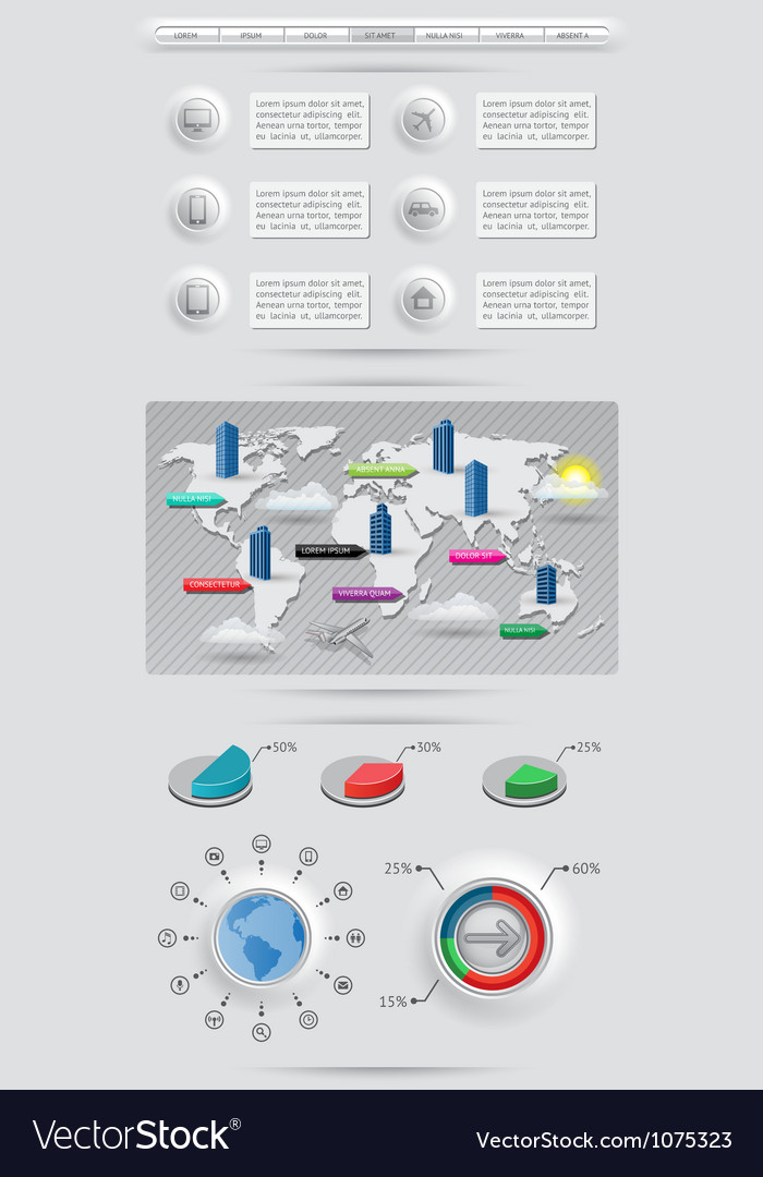 Infographics elements with world map vector | Price: 1 Credit (USD $1)