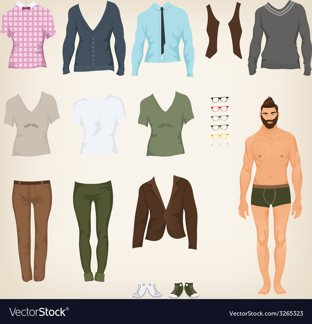 Male hipster dress up paper doll with an vector | Price: 1 Credit (USD $1)