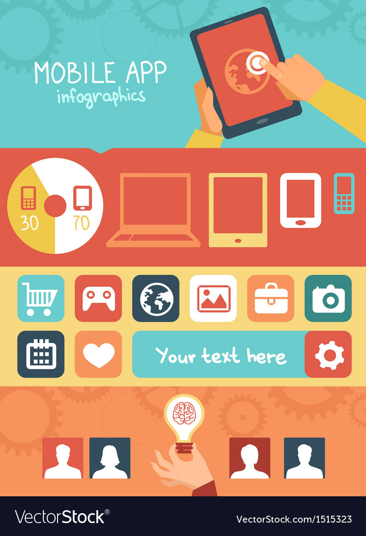 Mobile app development infographics vector | Price: 3 Credit (USD $3)