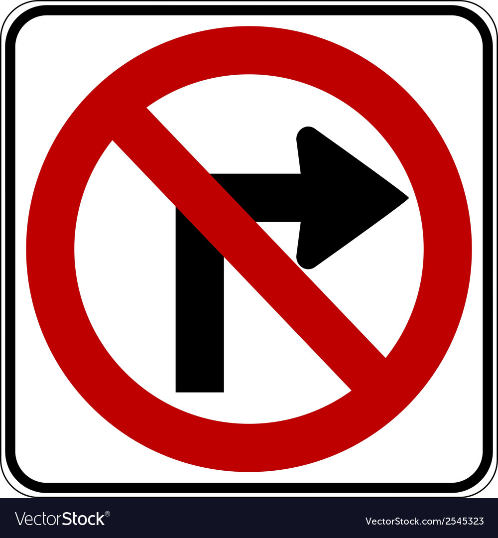 No right turn vector | Price: 1 Credit (USD $1)
