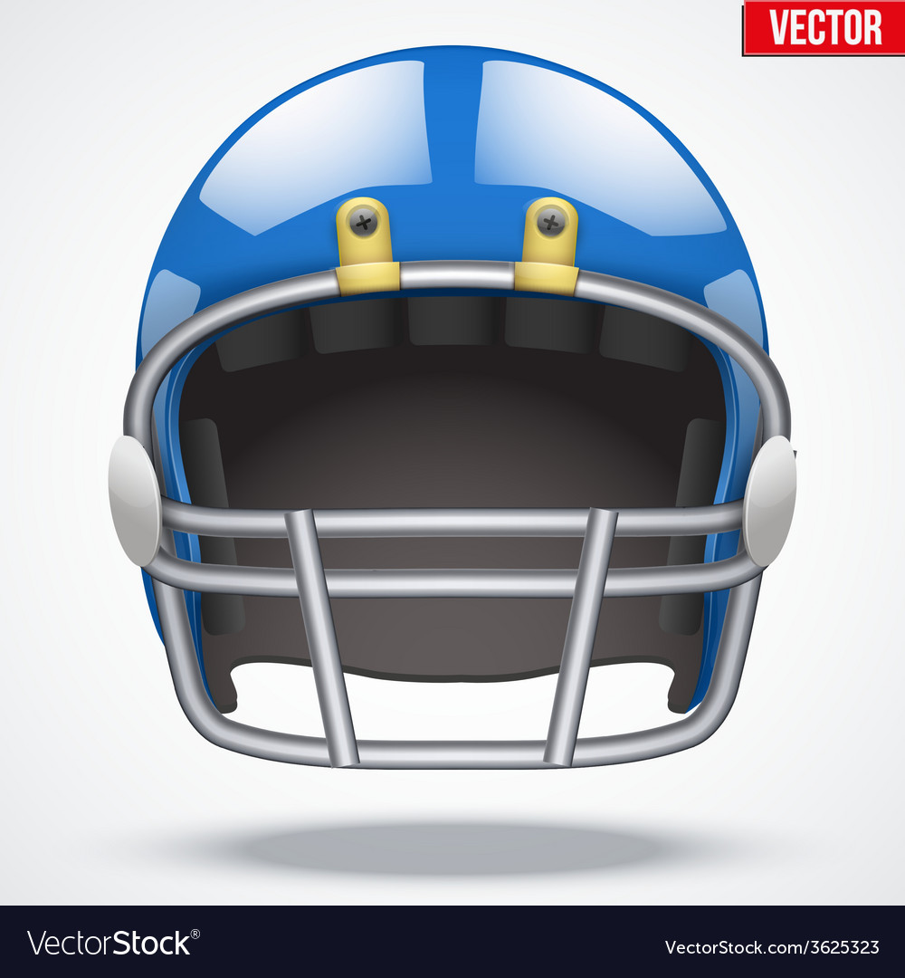 Realistic blue american football helmet front view vector | Price: 1 Credit (USD $1)