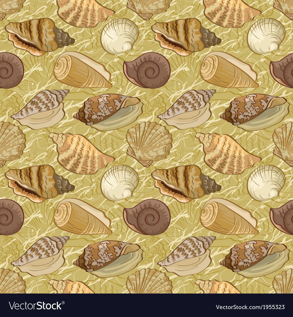 Seamless background seashells vector | Price: 1 Credit (USD $1)