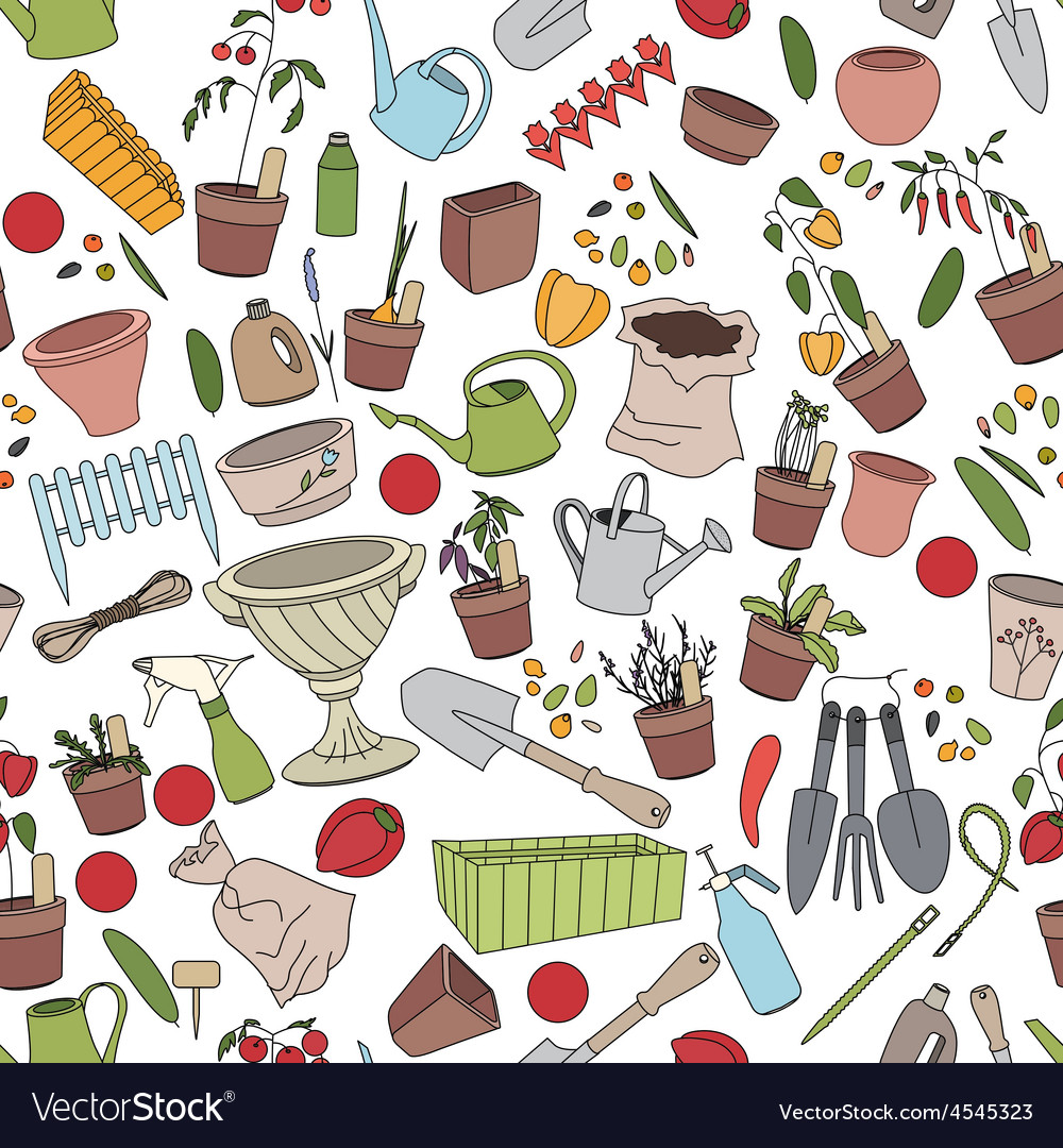 Seamless pattern with gardening tools flower pots vector | Price: 1 Credit (USD $1)