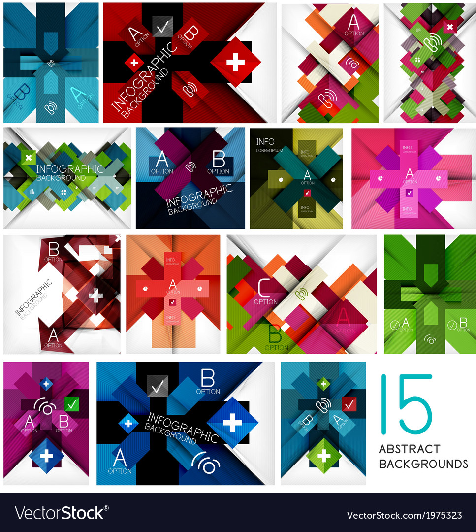 Set of geometrical cross shape backgrounds vector | Price: 1 Credit (USD $1)