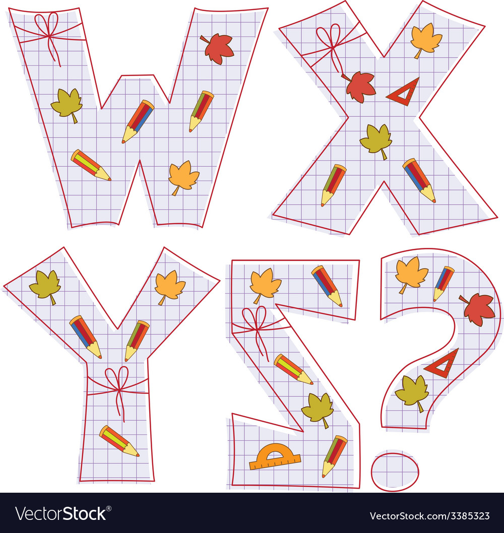 Sheet alphabet letter w x y z question mark vector | Price: 1 Credit (USD $1)