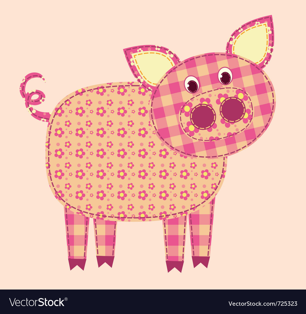 Stitched pig vector | Price: 1 Credit (USD $1)