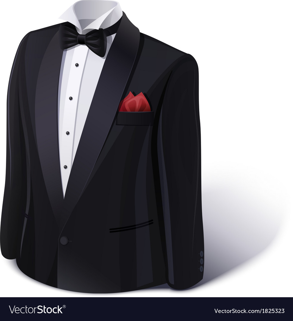 Tuxedo and bow stylish suit vector | Price: 1 Credit (USD $1)