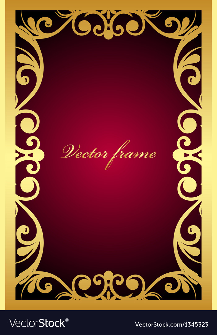 Vintage maroon frame with gold ornament vector | Price: 1 Credit (USD $1)