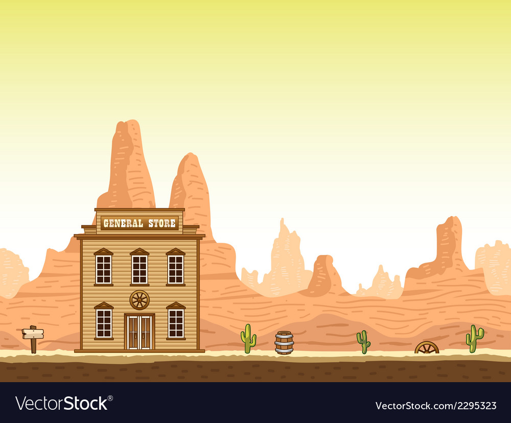 Wild old west canyon background with store vector | Price: 1 Credit (USD $1)