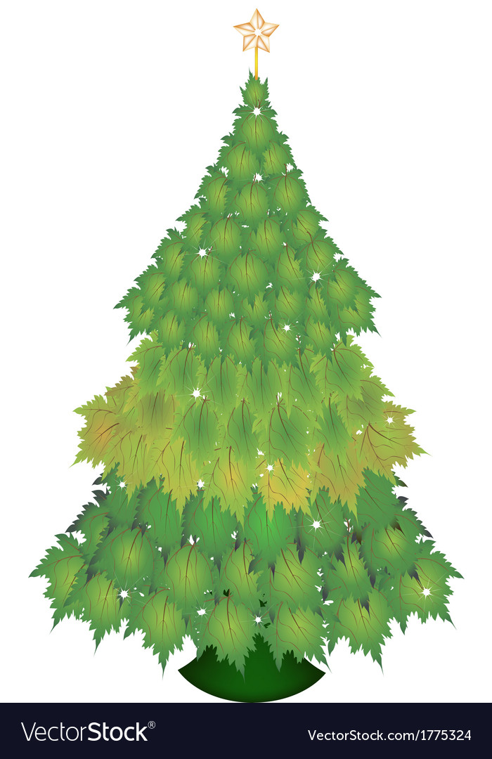 A christmas tree of green maple leaves vector | Price: 1 Credit (USD $1)