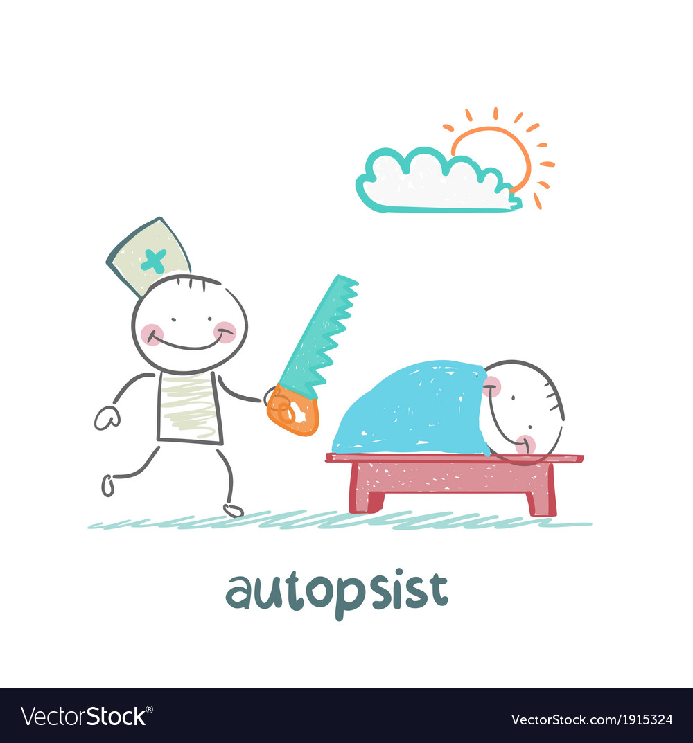 Autopsist with a saw at work vector | Price: 1 Credit (USD $1)