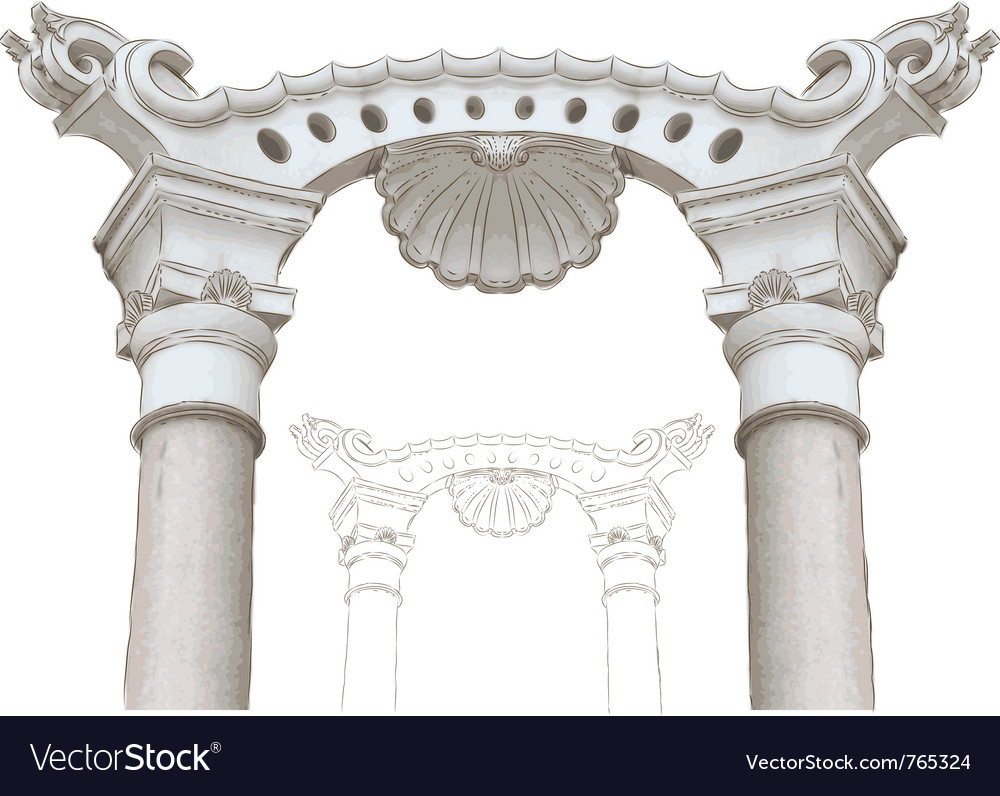 Classic arch and columns sketch vector | Price: 1 Credit (USD $1)