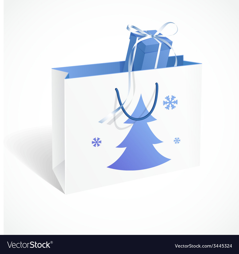 Festive paper bag with fir-tree snowflakes and vector | Price: 1 Credit (USD $1)